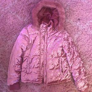 Muave Faux Fur Padded Coat